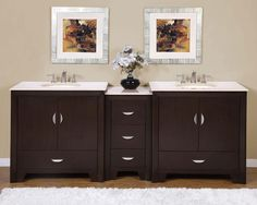 "Silkroad 89"" Modern Double Sink Bathroom Vanity"