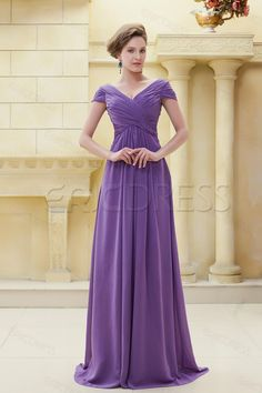 Delicated Pleats Sheath V-Neckline Floor-Length Elas Mother of the Bride Dress