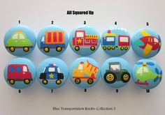 Set of 8-Blue Transportation themed Drawer Knobs Collection 3-Mix and Match-You choose which designs