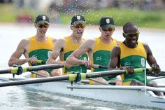 """""""Ordinary people doing extraordinary things"""" -Olympic Gold Rowers 2012 from SA's Rainbow Nation -Sizwe Ndlovu, Matthew Brittain, John Smith and James Thompson. Rowing Team, Rowing Club, Victoria Lake, James Thompson, Row Row Your Boat, Most Beautiful Beaches, Beautiful Things, Pretoria, Beaches In The World"""