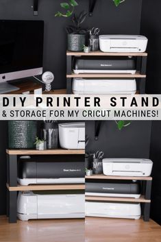 DIY Printer Stand and Storage for My Cricut Machines! - Looking for an easy DIY printer stand idea? I'm sharing what I made to maximize vertical space on -