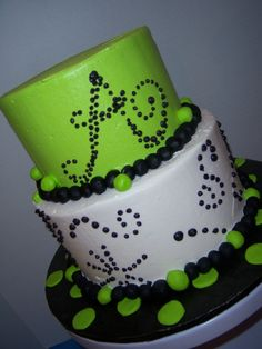 lime green birthday cake by slice custom cakes
