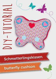 Nähanleitung & Schnittmuster für ein Schmetterlingskissen | butterfly cushion DIY sewing tutorial by pattyoo