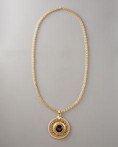 Jose & Maria Barrera  Medallion Necklace, topaz