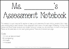 Teacher Time Savers: Common Core Assessment Notebook...A checklist for every Kindergarten standard!!!  (free!!)