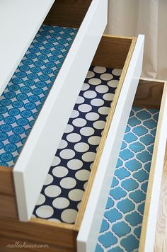 Lining your drawers with fabric, not traditional liners, offers a wider selection of colors and patterns.