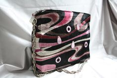 Black and pink handmade velvet bag with mother-of-pearl