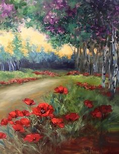 Wind Blown Poppies and Aspens by Nancy Medina Oil ~ 40 x 30 $2100