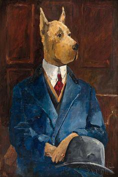 "Avery Tillmon Inspector Dogleash  Print on Demand- Flat Giclee Canvas 24"" x 36"" #ImpressionismVintage"