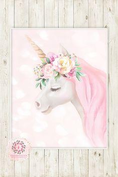 Boho Bokeh Unicorn Wall Art Print Baby Girl Pink Nursery Ethereal Whimsical Floral Printable Decor B Baby Prints, Nursery Prints, Wall Art Prints, Floral Nursery, Unicorn Wall Art, Unicorn Painting, Baby Unicorn, Art Wall Kids, Framed Wall Art
