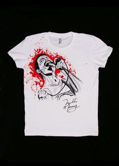 Hand painted T-shirt Freddie Mercury, Textiles, Hand Painted, Mens Tops, T Shirt, Fashion, Supreme T Shirt, Moda, Tee Shirt