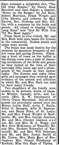 Henry Beck & Fannie Golden Wedding 4  from Morning Sun News Herald