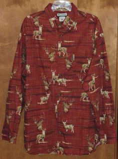 Columbia River Lodge Mens XL Brick Red Hunting Deer Sportsman Shirt Button-Front #ColumbiaSportswearCo #ButtonFront