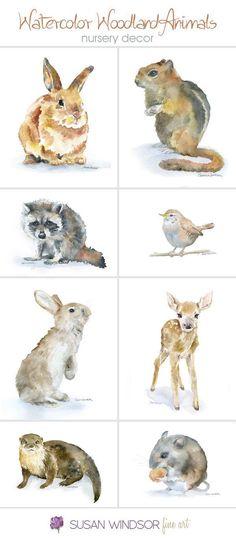 Woodland Animal watercolor prints - Nursery wall art, wall decor