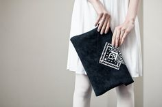 JUNE SALE Envelope Bag Geometrical Illusion Leather Suede Dark with White No. EB-1011 via Etsy