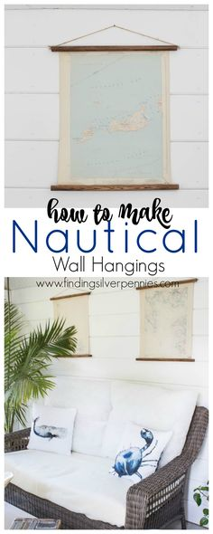 Nautical Chart Art - How to Make Beautiful Wall Hangings Out of Old Nautical Charts. They look perfect in my she shed. www.findingsilverpennies.com