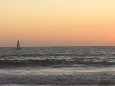 sailboat in sunset on venice beach