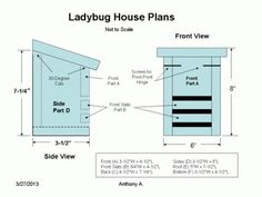 DIY plans with step-by-step instructions, photos and diagrams for building a Ladybug House. Plus, lady bug facts and tips for attracting lady bugs into the garden. Backyard Projects, Outdoor Projects, Garden Projects, Backyard Patio, Wood Projects, Garden Ideas, Garden Bugs, Garden Insects, Bird House Plans