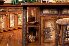 15 Best Rustic Kitchen Cabinet Ideas and Design Gallery 2018 Old Hickory Furniture, Rustic Furniture, Lodge Furniture, Primitive Kitchen, Wooden Kitchen, Hickory Kitchen Cabinets, Base Cabinets, Kitchen Counters, Rustic Storage Cabinets