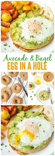 Egg in a Hole, cooked inside a bagel with smashed avocado on top. Our family's favorite breakfast, and it's perfect for easy, healthy lunches and dinners too! Use a whole wheat bagel to make it clean eating friendly. Healthy Breakfast Recipes, Healthy Lunches, Healthy Eating, Healthy Recipes, Healthy Bagel, Healthy Breakfasts, Healthy Food, Healthy Breakfast Sandwiches, Lunch Recipes
