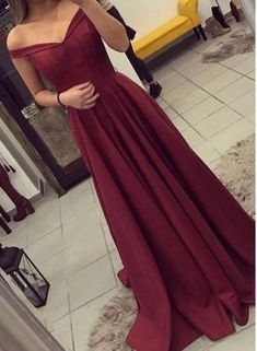 A-line Burgundy Teens Off-the-Shoulder Elegant Prom Dresses,51