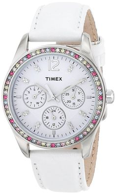 Timex Women's T2P385 Crystal Multi-Function White Leather Strap Watch *** Check out the watch by visiting the link.