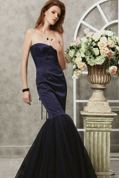Mermaid Floor-Length Strapless Dark Navy Satin Dress -
