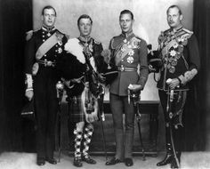 QUEEN MARY'S CHRISTMAS CARD: Duke of Kent, Prince of Wales, Duke of York, Duke of Gloucester. The Queen kept this photograph on her desk at Malborough House until her death.