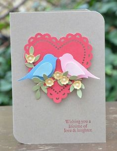 handmade love/wedding card: pair of punched birds on flowered branches over a die cut heart ... Stampin' Up!