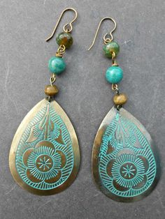 Flowers. Green patina flower metal drops with stones and bronze metal earrings. -  - McKee Jewelry Designs - 1