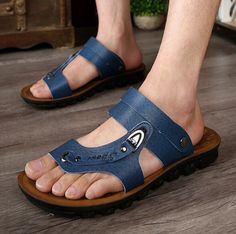 New Summer Fashion Men's Casual Leather Beach Sandals Flats Slippers shoes #Handmade #FlipFlops