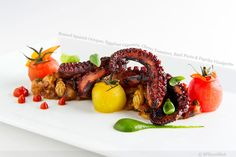Braised Spanish Octopus, Eggplant Caponata, Cherry Tomatoes, Basil Purée and Paprika Vinaigrette