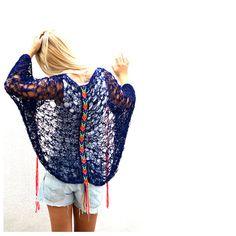 Cobweb Cocoon Shrug with Peruvian Back Piece by munamiu on Etsy, $78.00