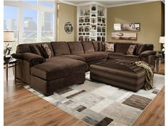 Oversized sectional sofa with chaise impressive extra large sectional sofa - Elites Home Decor Oversized Couch Sectional, Brown Sectional, Sectional Sofa With Chaise, Living Room Sectional, Living Room Furniture, Furniture Sets, Living Room Decor, Living Rooms, Wolf Furniture