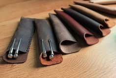 Leather 1 or 2 Pen Case Retro Pencil Holder for Midori style travel notebooks