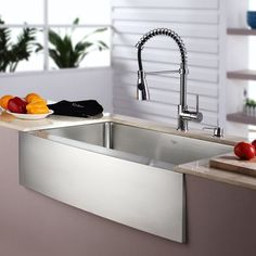 Kraus stainless steel sink & faucet combinations offer great savings on best selling kitchen products. Handcrafted from premium 16 gauge T-304 stainless steel for maximum durability, the farmhouse sink creates a contemporary look for the kitchen. Extra-deep basins accommodate large dishes with ease. The clean lines and apron front design complement any décor, from traditional to transitional to modern. All Kraus kitchen sinks are equipped with top-level soundproofing, including thick rubb...
