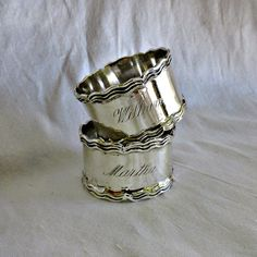 Mexico Sterling Silver Napkin Ring Set of Two by SilverFoxAntiques, $185.00