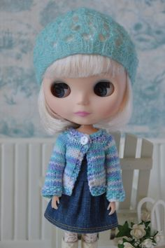 Sweet knitted blue and white cardigan for Blythe от OnBlytheStreet