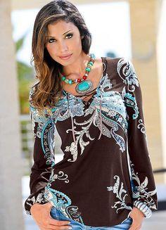 Long Tunic Tops | Long Sleeve Lace-Up Neck Tunic | Tops | Womens | Grattan