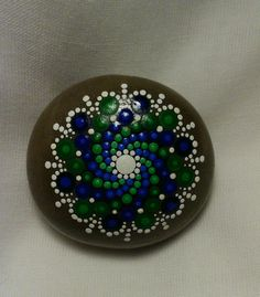 Dot Painted Mandala Stone