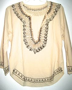 Vintage embroidered tunic boho hippie shirt 70s era cotton muslin top by sweetalicelovesyou on Etsy