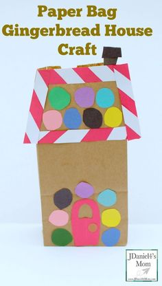school holiday Paper Bag Gingerbread House Craft- This fun holiday craft can be used to create a gingerbread village, be a gift bag or used as a story starter. Preschool Christmas Crafts, Classroom Crafts, Christmas Activities, Xmas Crafts, Kid Crafts, Winter Activities, School Holiday Crafts, Preschool Winter, Toddler Crafts