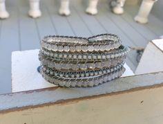 Wide Cuff Stretch Cord Cuff Boho Rhinestone Spacer Spacer Bohemian Bracelet