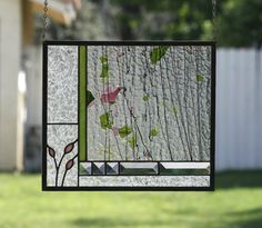 ENGLISH GARDEN Abstract Stained Glass Window by gallerydelsol