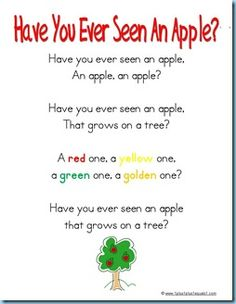 Special ~ Apple Songs for Music Time - Bingo and Have You Ever Seen A Lassie tunes!Something Special ~ Apple Songs for Music Time - Bingo and Have You Ever Seen A Lassie tunes! Preschool Apple Theme, Preschool Music, Fall Preschool, Preschool Themes, Preschool Lessons, Preschool Apples, Color Songs Preschool, Preschool Apple Activities, Kindergarten Music