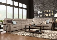 picture of Cindy Crawford Home Wilshire Place Gray Leather 7 Pc Reclining Sectional  from Leather Sectionals Furniture