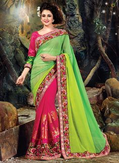 VOLUPTUOUS BRASSO GEORGETTE EMBROIDERED WORK DESIGNER SAREE  CODE:-18194 PRICE:-6468