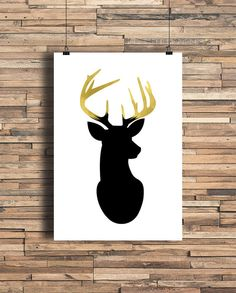 Deer Head With Faux Gold Foil Antlers Home Decor by StayGoldMedia