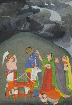 Radha Adorns Krishna with a Tilak. Opaque watercolor, gold and tin on paper. India, Bundi, circa 1750.    (Source: nayefhomsi.com)
