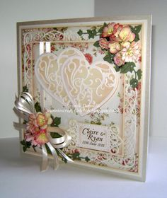 Another Creamy Peachy Wedding Card - using three Sue Wilson's designs Dies from Creative Expressions, New York Collection Times Square, Corner, Border & Tag and Finishing Touches Trailling Ivy - also using a Spellbinders Grand Square and Vines Of Passion and a Memory Box Leaf. Flowers from Wild Orchid Crafts